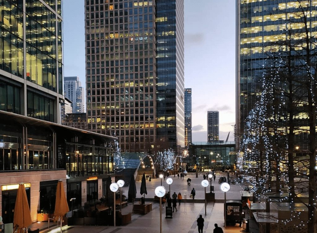Cabot Place West Mall in Canary Wharf