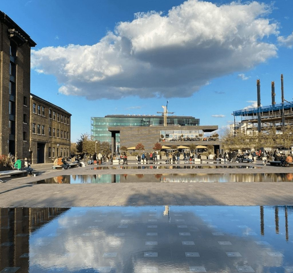 Crowds at Granary Square in Canary Wharf.