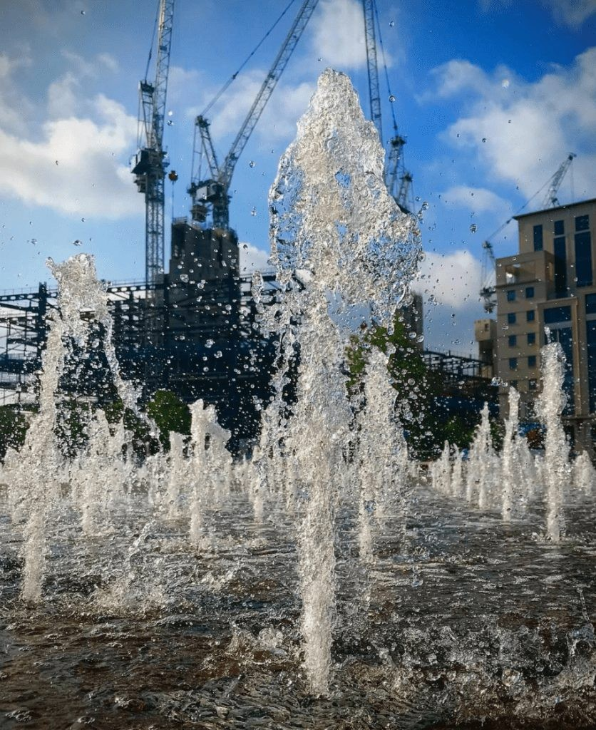 Fountains of Granary Square.